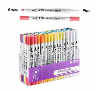 Dual Tip Brush Markers 80 Colors Pens Set Art Paint Highlighter Watercolor ink