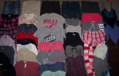 WOMENS/GIRLS S/XS/P 40pc CLOTHING LOT HOLLISTER/AE/VICTORIA'S SECRET/AERO & MORE