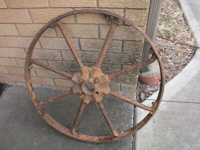 Large Original Solid Metal Wagon Wheel off a Vintage Cart etc - Rustic Country