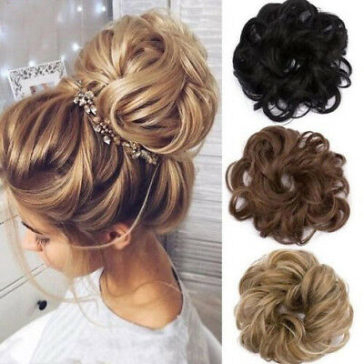 Natural Curly Messy Bun Hair Piece Scrunchies Updo Cover Hair Extensions Ring AU