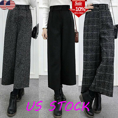 Womens Casual High Waist Woolen Long Pants Ladies Loose Wide Leg Trousers Winter