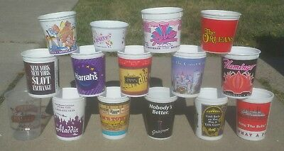 Lot of 15 Vintage Slot Coin Token Plastic Cup LAS VEGAS CASINO HOTEL COLLECTION