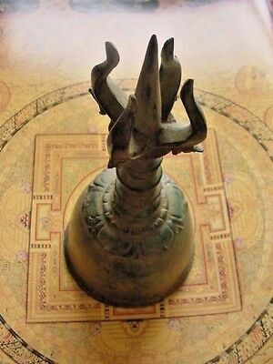 BIG OM TEMPLE MONKS BELL,GHANTA,MONK,Bells,B KEY,7th,CHAKRA,HEALING,VAJRA,DORJE