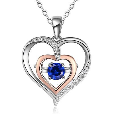 Sterling Silver Christmas Day Gifts Diamond Accent Double Heart Pendant Necklace