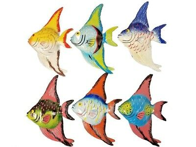 Multi Color Set Of (6) Decorative Tropical Wall Decor Fish With Free Fish Net!