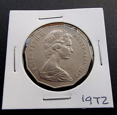 1972 About Uncirculated Australian Fifty 50c Cent Coin - Low Mintage - 781a