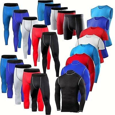 Mens Compression Shorts Pants Shirt Vest Exercise Base Layers Tights Gym Clothes