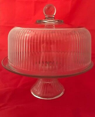 Anchor Hocking Clear Glass Ribbed Design Pedestal Cake Stand With Lid