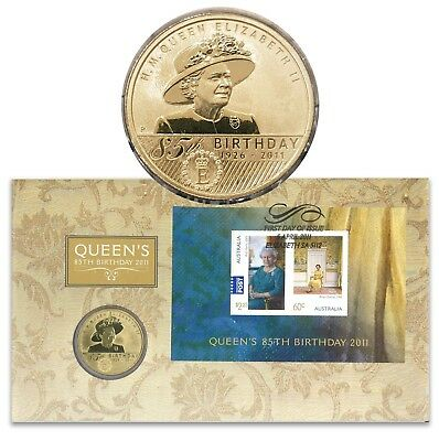 Australia 2011 Queen's 85th Birthday $1 Dollar UNC Coin & Stamp Cover PNC