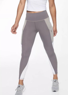 b3434ac0ecb14 ATHLETA Colorblock Up For Anything 7/8 Tight ST Small Tall Silver Bells NWT  $89