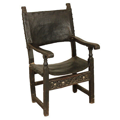 Antique Walnut Highchair Leather Iron Italy 18th Century