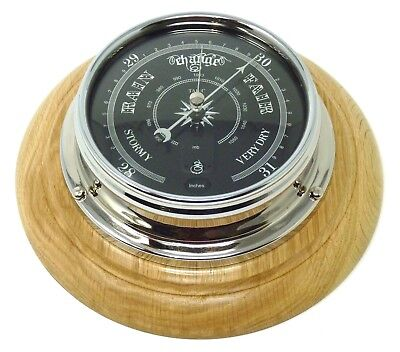 Tabic Prestige Traditional Barometer in Chrome on English Oak Mount