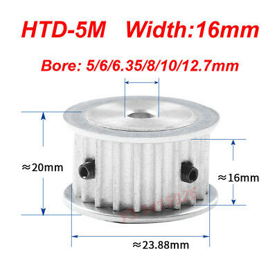 HTD 5M-15T-16W 5/6/6.35/8/10/12mm Bore Pitch-5mm Timing Belt Drive Pulley 15T
