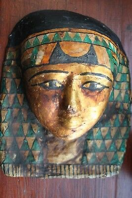 GOOD ANCIENT EGYPTIAN CARTONAGE MASK LATE DYNASTIC 30th DYN 380 BC