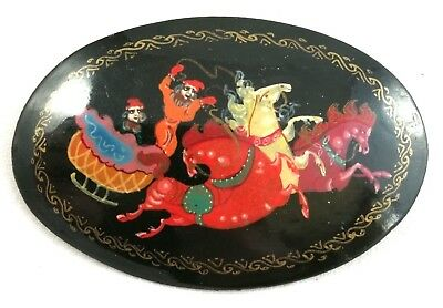 Vintage Russian Black Lacquer Brooch Folk Art Hand Painted Troika Oval Signed