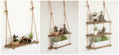 Large Vintage Hanging Rope Shelf Rustic Wooden Country Display Unit Home Decor