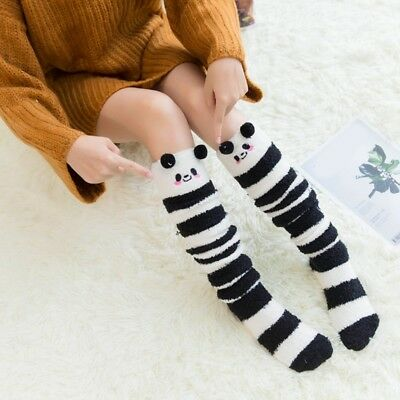 Girl Animals Design Knee Socks Striped Cute Lovely Cozy Long Thigh High Socks