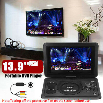 "13.9"" Portable DVD Player Car  270° Screen SD Game with Remote Controller Travel"