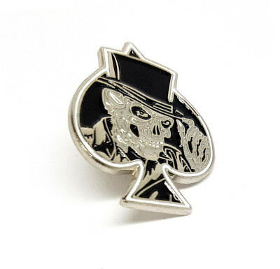 Metal Enamel Pin Badge Skull Grinning Ace of Spades ACDC Biker Gothic Scooter