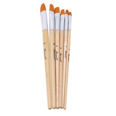 6 Pcs Nylon Hair Artists Brushes Flat Watercolor Gouache Acrylic Oil Paint Pen 6