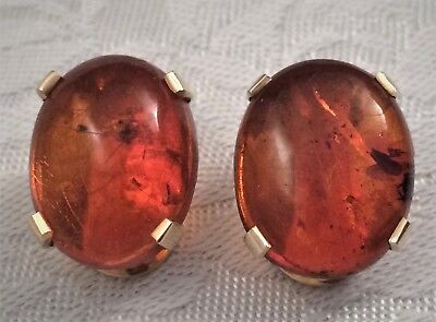 Vtg Solid 14K Gold Genuine Baltic Amber w/ Insect Inclusion Clip Earrings 11.3g
