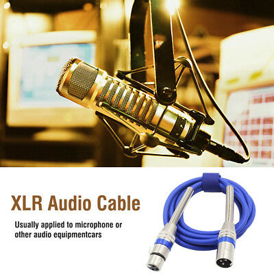 Quality 1m 3 Pin XLR Male to Female Plug Connector Microphone Audio Cable, Blue