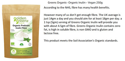 GOLDEN GREENS - Organic Inulin - Vegan 200g FIBRE PREBIOTIC INULIN