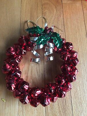 """Red Jingle Bell Metal Christmas Wreath About 10"""" Round"""