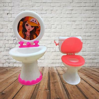 Bathroom Toilet & Wash Basin Set for Barbie Doll House Furniture Toy Play AS#*