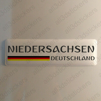 """Lower Saxony Germany Sticker 4.70x1.18"""" Domed Resin 3D Flag Stickers Decal Vinyl"""