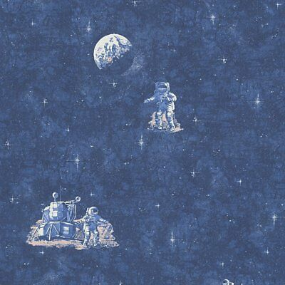 Blue Spaceman Moon And Stars Glow In The Dark Wallpaper 30489