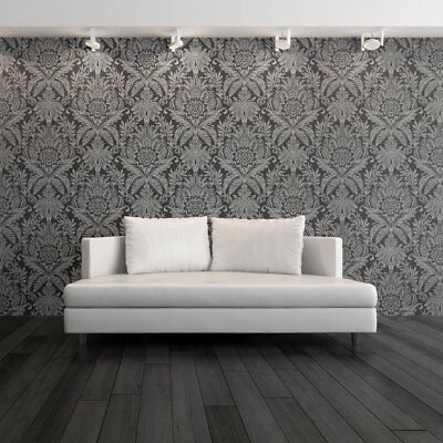 BLACK SILVER VICTORIA DAMASK TEXTURED QUALITY FEATURE WALLPAPER MURIVA 137305