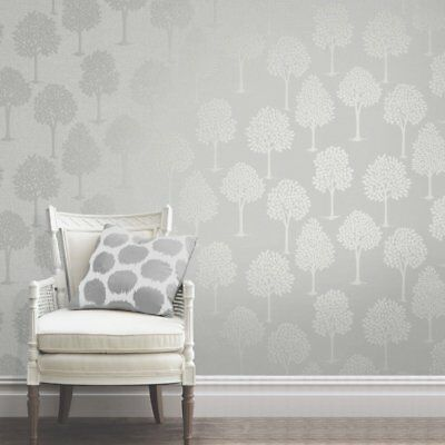 Silver Grey Trees Wallpaper on Hessian Textured Vinyl with Glitter FD42200