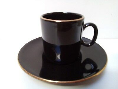 Vintage 1990s Black/Gold Nescafe Expresso Hornsea Pottery Coffee Cup/Saucer