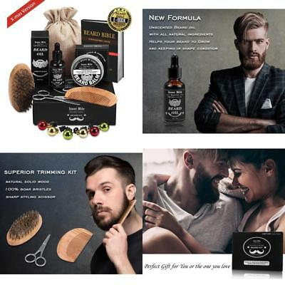 UPGRADED Beard Kit for MEN BEARD GROWTH Grooming & Trimming with Unscented Leave