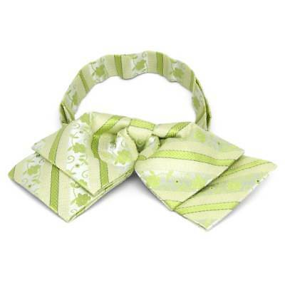 TieMart Apple Green Anna Floral Stripe Floppy Bow Tie