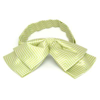 TieMart Apple Green Kimberly Chevron Stripe Floppy Bow Tie