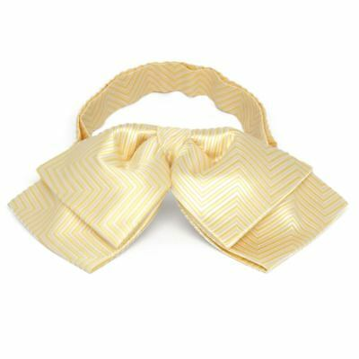 TieMart Canary Yellow Kimberly Chevron Stripe Floppy Bow Tie