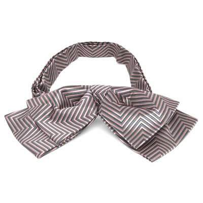 TieMart Soft Pink Kimberly Chevron Stripe Floppy Bow Tie