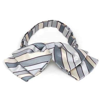 TieMart Light Silver Douglas Stripe Floppy Bow Tie