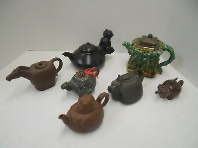 7 Asian Inspired Teapot Assortment in Ceramic Terra Cotta Porcelain Carved Stone