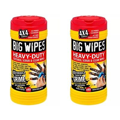 BRAND NEW! 2 x Big Wipes - Red Top 4x4 Heavy-Duty Hand Cleaners Tub of 80