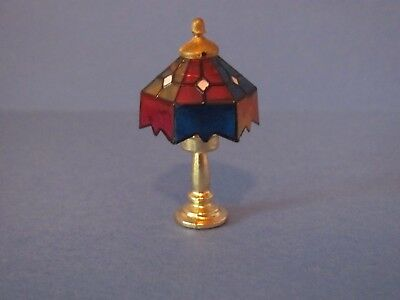 """New Dollhouse Miniature 2"""" Tiffany Type Lamp With Gold Accents"""