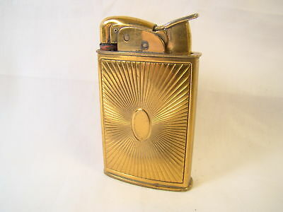 Antique Evans Brass Sunburst Art Deco Automatic Lighter Sparking Well