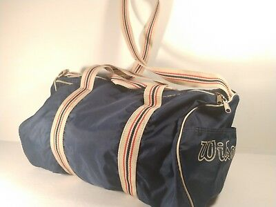 """Vintage 19"""" Wilson Gym Duffle Bag - Red White Blue - Lined"""