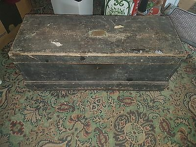 antique pine wooden carpenters tool chest vintage with tools