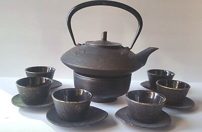 Teavana Japanese 14-Piece Dragonfly Cast Iron Teapot, Teacups, Trivet Set