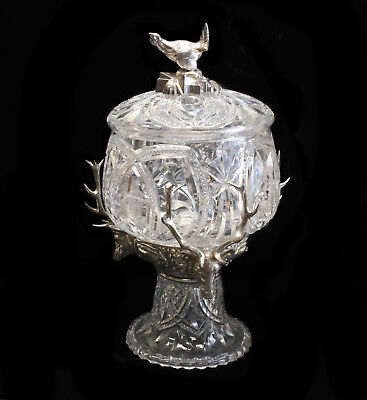 WMF Anamalier Brilliant Cut Glass & Silver Plate Centerpiece Bowl, c.1910 Stags