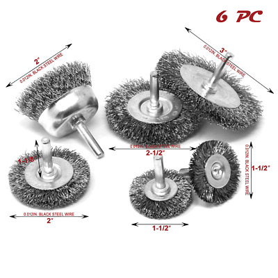 "6 pc set 1/4"" Crimped Wire Wheel Cup Brush Set Power Drill Toolman"