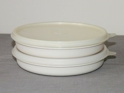 """2 vtg 70s-80s Tupperware 6"""" shallow bowl containers 1262 Almond, 2 lids 227 - VW"""